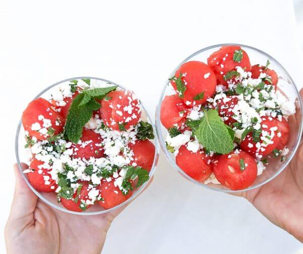 Watermelon feta, and mint salad