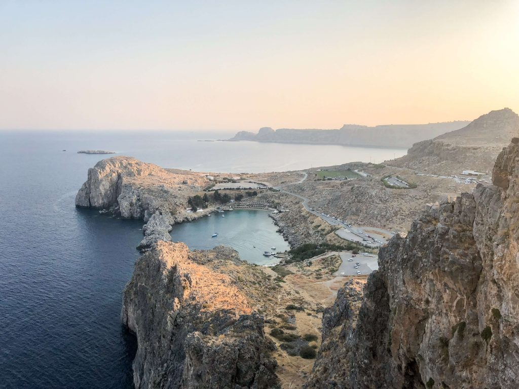 View from the top of Acropolis in Lindos overlooking the Mediterranean waters