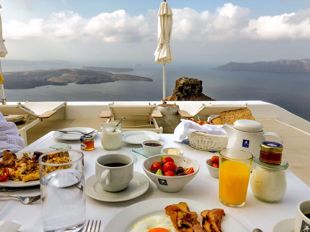 Breakfast with a view overlooking the Caldera and Aegan sea