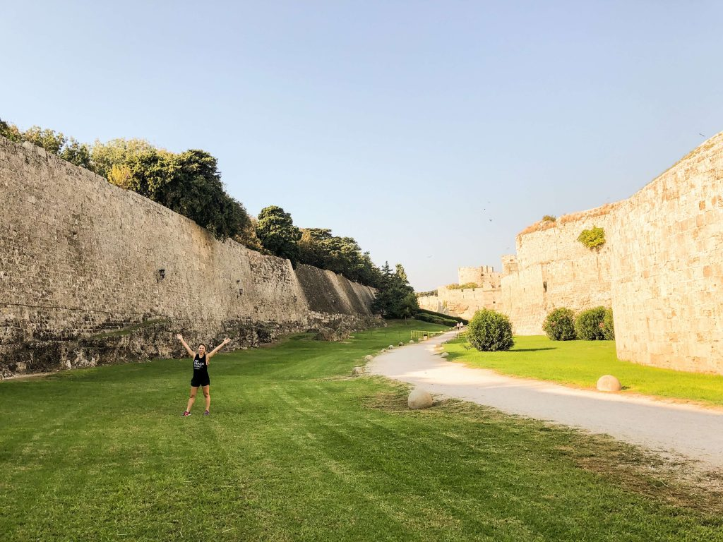 Enjoy 1.5 mile walk or run along the moat outside of Old Town, Rhodes