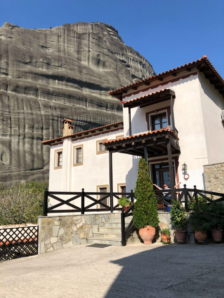 The Pyrgos Adrachti Hotel in Kalabaka is just a stone-throw away from the Meteora rock formations.