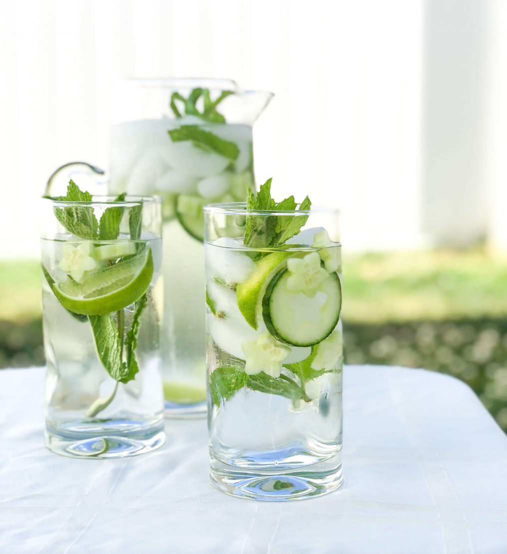 infused water with mint, cucumber, and lime