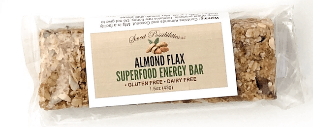 Energy bar made with almonds, flaxseeds, nuts, and oats