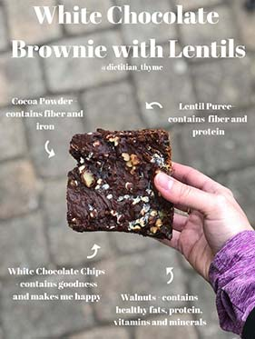 White Chocolate Brownies with Lentil puree and why lentils are healthy for you